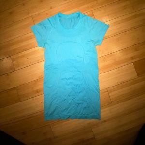 Lululemon blue short sleeve runswiftly top